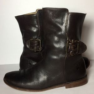 Frye Paige Short Brown Motorcycle Boots Size 7
